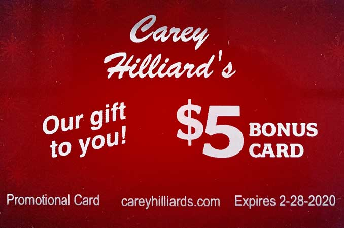 Carey Hilliard's Restaurants Gift Card Special
